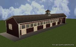 5 Stall Horse Barn.  Shed Row or some say Breeze Way Barn