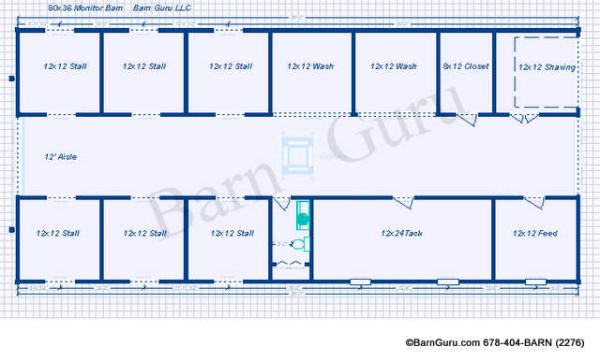 6 Stall Monitor Style Horse Barn Plan Blue Prints