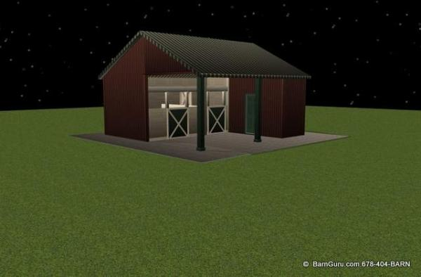 2 Stall Shed Row Horse Barn Double Up