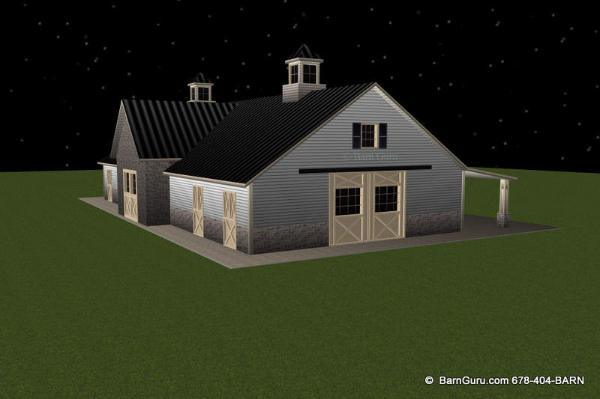 Nice Gable 10 Stall Horse Barn Plan with center entrance