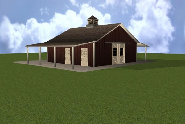 4 stall horse barn plan for Four stall barn plans