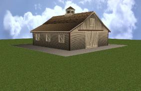 Rustic - Classic Style Horse Barn With Stalls