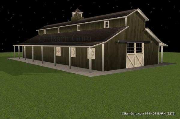Six Stall Horse Barn Design Monitor Style