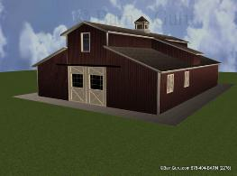Front elevation monitor style horse barn design 3d cad