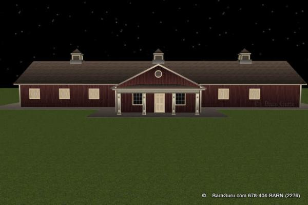 Ten Stall Horse Barn Design Front Elevation - wth porch
