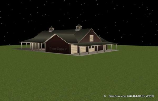 eight stall horse horse barn with garage bays for hay and shavings