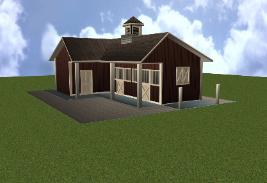 Two Stall Horse Barn. Shed Row with tack room