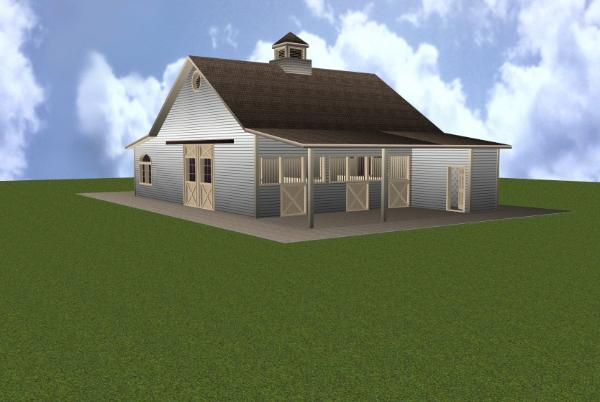 3 Stall Horse Barn Plan With Apartment