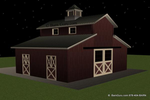 2 Stall Monitor Style Horse Barn Design Plan In Ga
