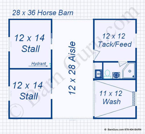 2 Stall Monitor Style Horse Barn Design Floor Plan