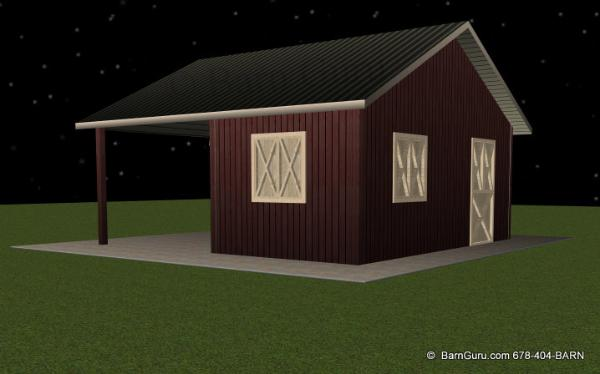 Two Stall Horse Barn With Run In