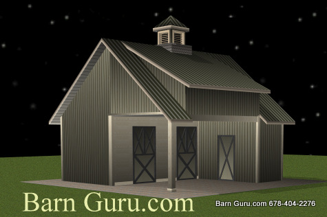 2 stall horse barn with loft area