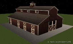 7 Stall Horse Barn Plan - Monitor style