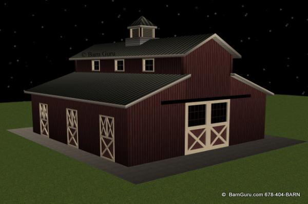 3 Stall Horse Barn Design Plan