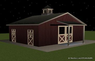 Barn Plans 3 Stall Horse Barn Monitor Vs Gable