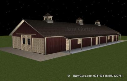 Two garage doors for shaving and hay on the right side of this 10 stall horse barn