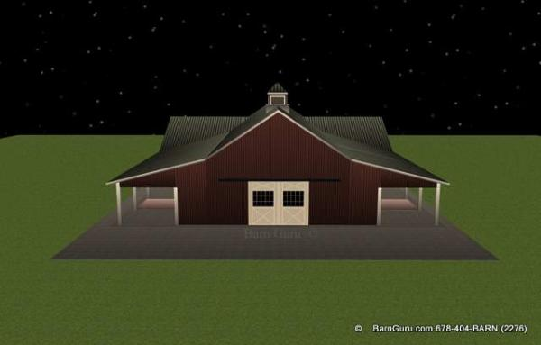 Classie gable style horse barn  with side porches - plans - Designs