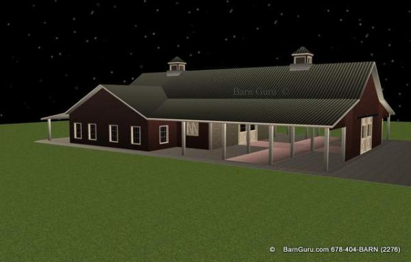 2  Stalls finished and room for six more - Tolal 8 Stalls - Horse Barn with living quarters