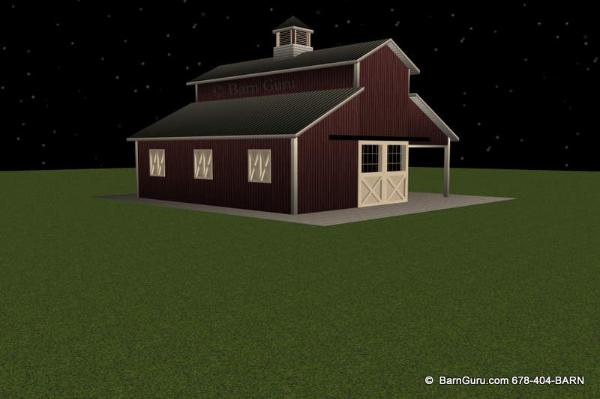This Monitor Styled Horse Barn Has a 12 x 36 Area for Tractors