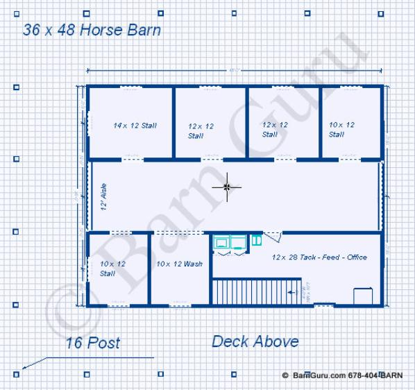 Barn plans 5 stall horse barn design floor plan for Horse stable plans with living quarters