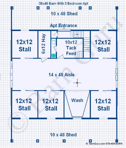 Compare barn plans with living quarters 4 5 stalls 3 for 10 stall horse barn floor plans