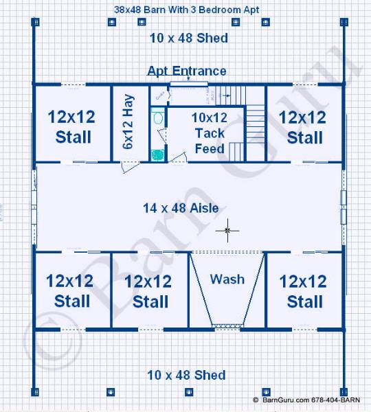 Barn plans with living quarters 5 stalls 3 bedrooms for Horse barn layouts floor plans