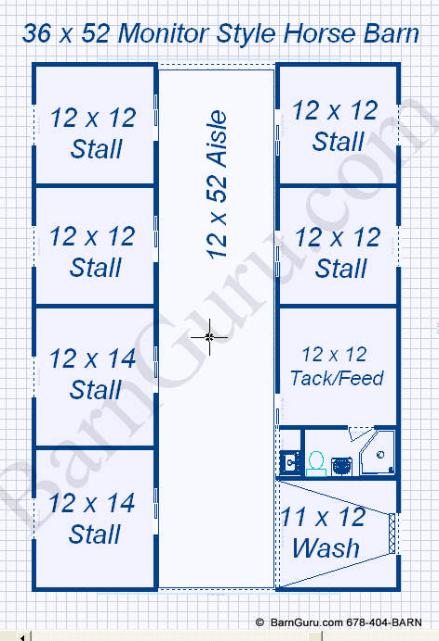 Horse Barn Plans With Wash Tack Feed Full Bath 6 Stalls