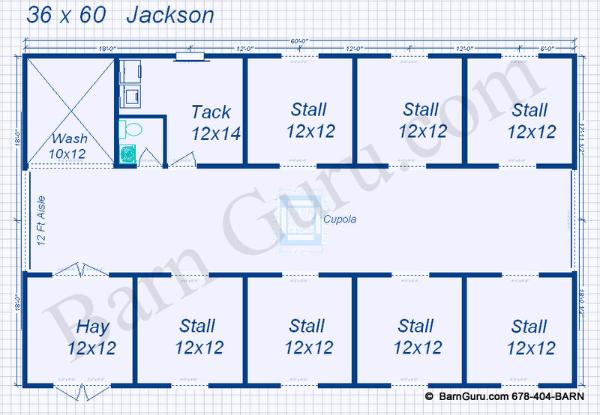 7 stall horse barn plans equine barn co designs blueprints for Horse stall floor plans