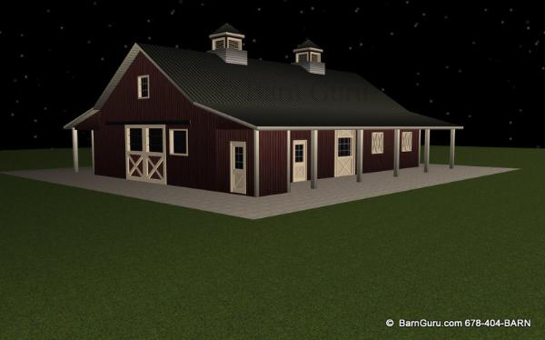 7_Stall_Horse_Barn_PLan Sliding Door For Wash Area
