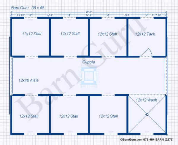 Floor Plan For A Six Stall Horse Barn