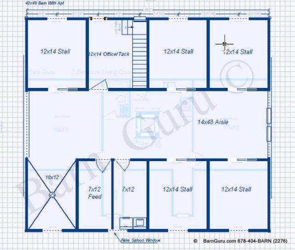 5 stall horse barn plans with 2 bed room apt apartment for Horse barn with apartment plans