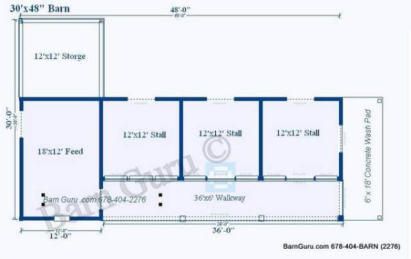 3 stall horse barn plan for Horse stable blueprints