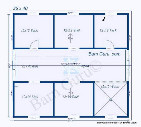 4 stall barn plans for Two stall barn plans