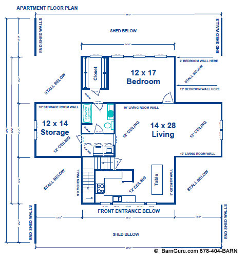 Horse barn with apartment floor plans barn plans 8 stall Barn with apartment plans
