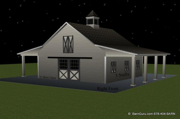 3 Stall Horse Barn - Tack - Feed - Wash - Ga horse barn builder - Horse  Barn Plans