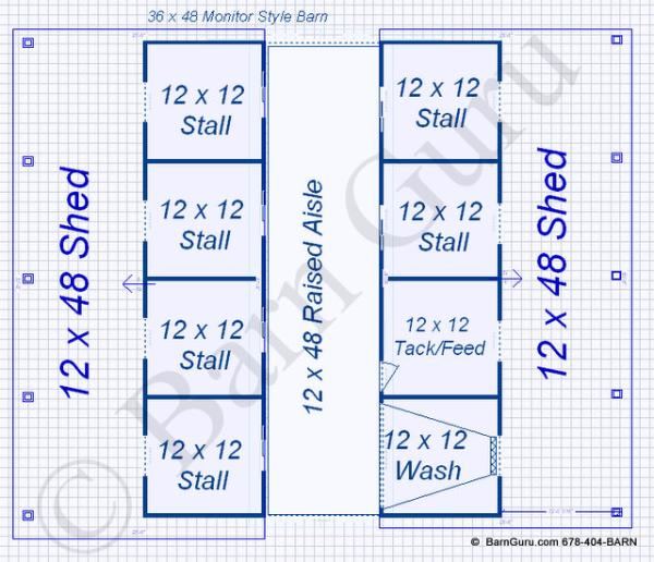 Floor Plan Horse Barn 6 Stall