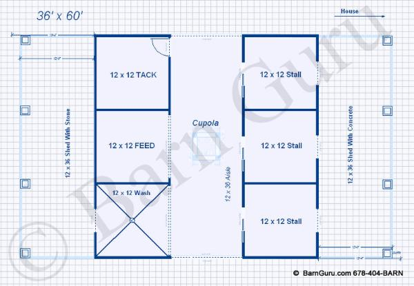 Barn plans 3 stall horse barn design floor plan for Horse stall floor plans