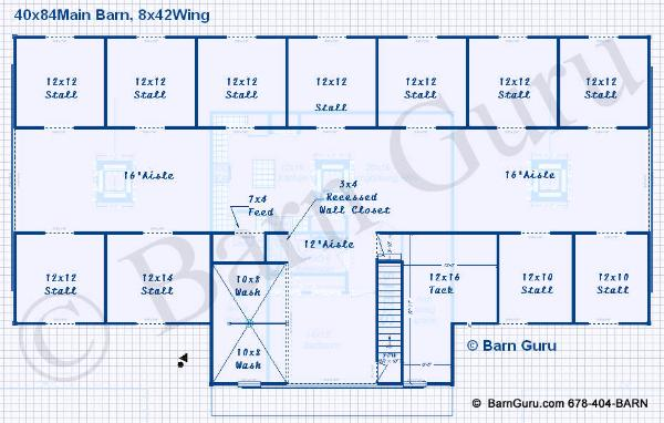 11 stall horse barn design plans with living quarters for Horse stall building plans