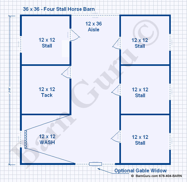 4 stall horse barn floor plan - Barn Builder in Ga