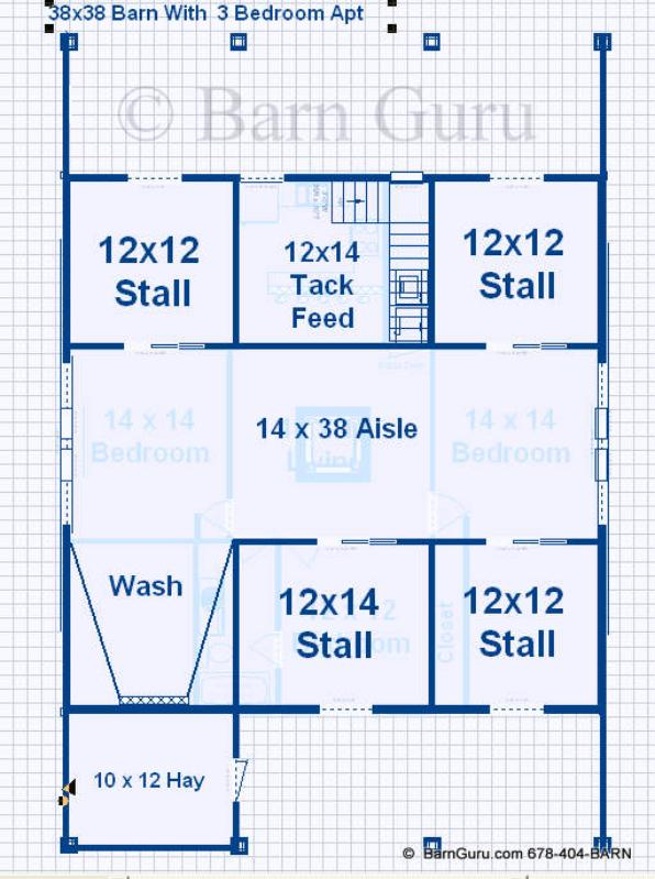 Barn plans with living quarters 4 stalls 3 bedrooms for 4 stall horse barn plans