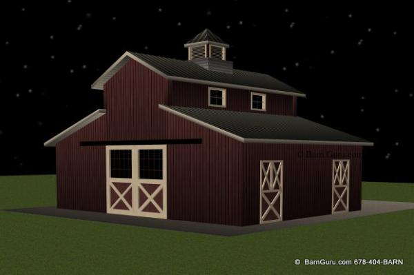 2 Stall Monitor Style Horse Barn Design Plan