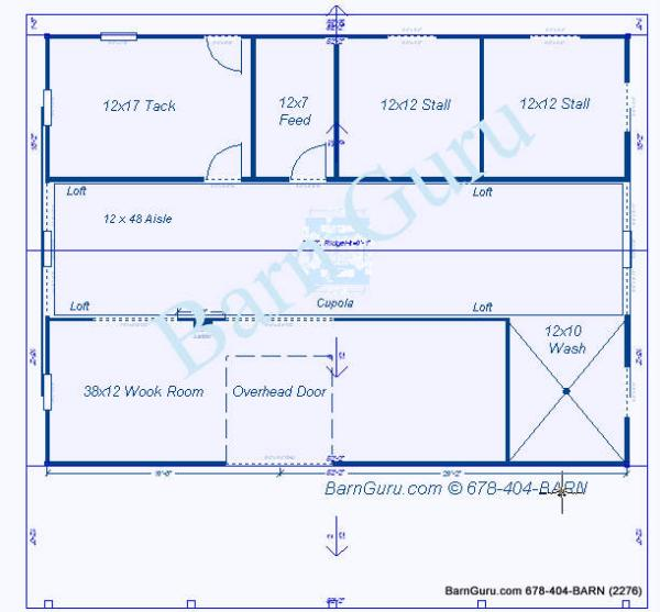 Two Stall Horse Barn Plan