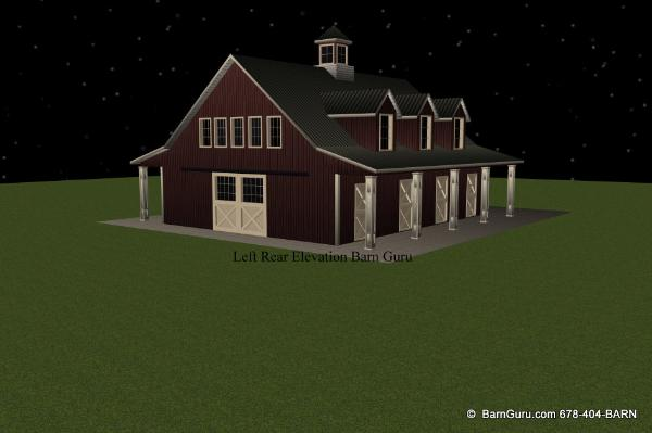 Horse Barn Plans With Living Quarters 5 Stalls 3
