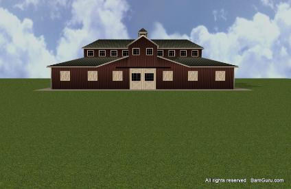 Plan drawing horse barn plans with arena for Monitor style barn plans
