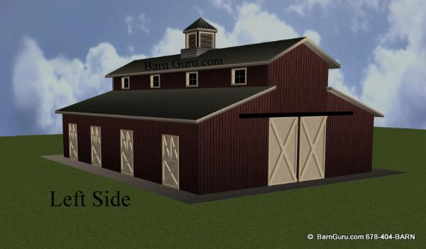6 Stall Horse Barn - Monitor Style Plan
