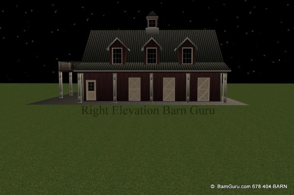 Left elevation of a five stall horse barn with apt