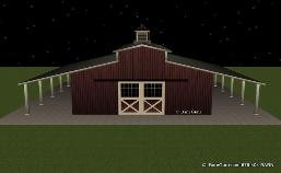6 Stall Monitor style horse barn in ga builder