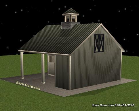 Barn Plans -2 Stall Horse Barn - Design Floor Plan