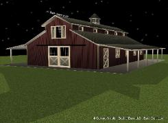 Monitor Style Barn - front Elevation - Horse barn Builder In Ga