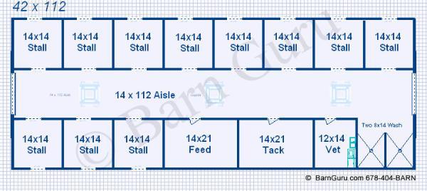 Barn Plans 11 Stall Horse Barn Design Floor Plan